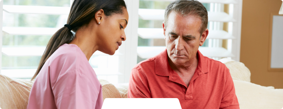 caregiver explaining result to client